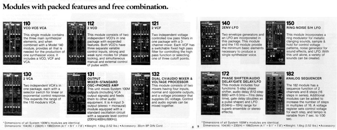 roland aira modular synthesizer system-100m
