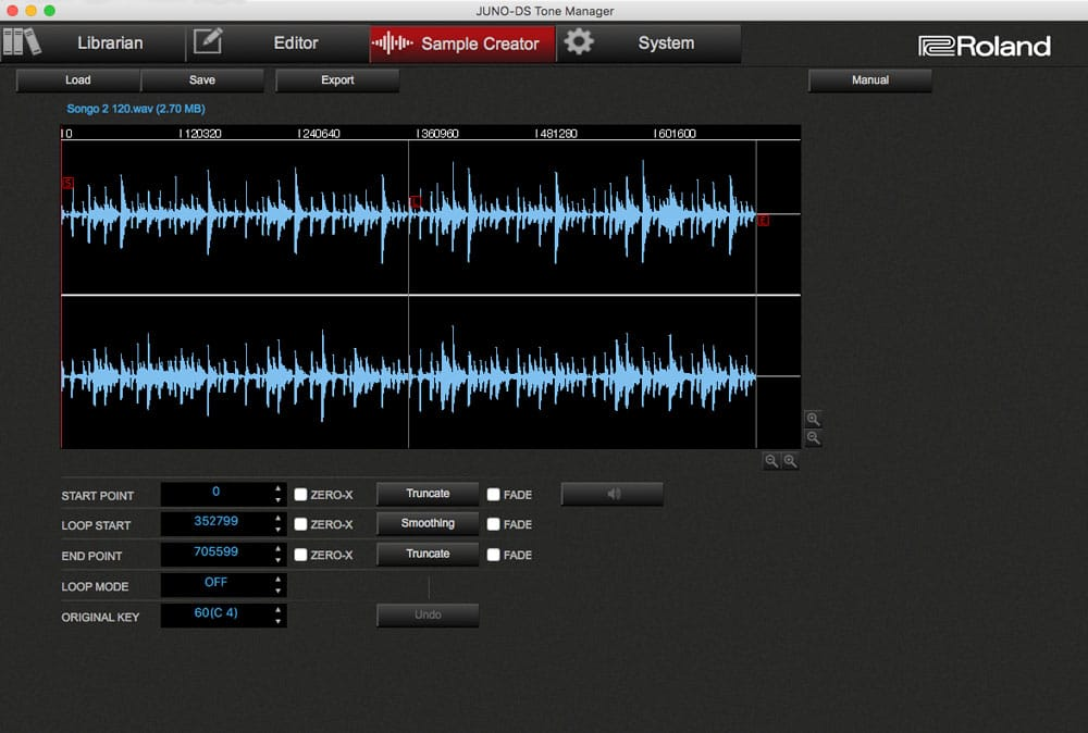 JUNO-DS TM Sample-Creator-Screen